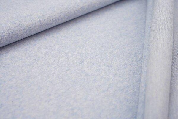 Kuschel Jacquard-Sweat Moritz pastell hellblau Melange Uni mit off white Rückseite