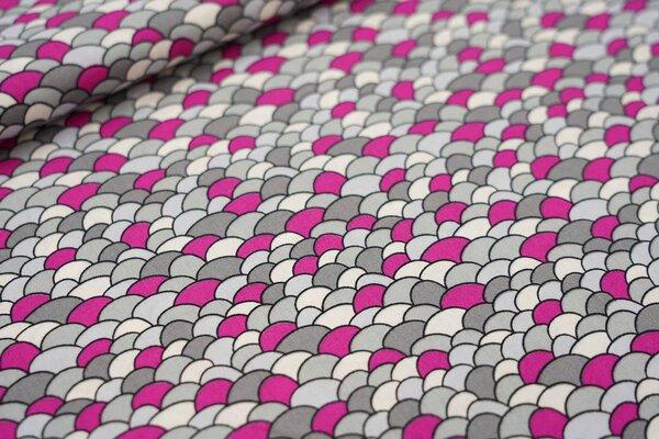 Baumwollstoff mit Schuppen-Muster grau / violett pink / weiß