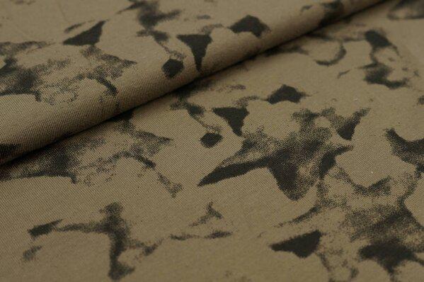 Baumwoll-Jerseystoff schwarzer Sternen-Aufdruck Kartoffeldruck Design auf khaki
