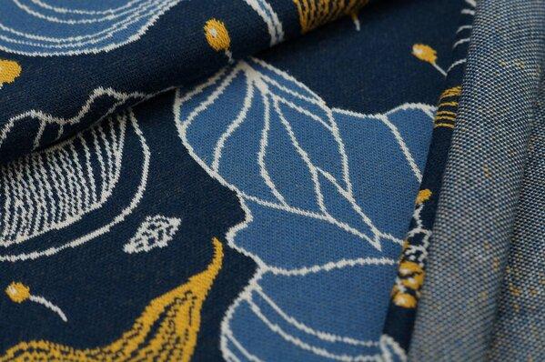 Jacquard-Sweat Ben taupe blau / off white / senf Blätter auf navy blau