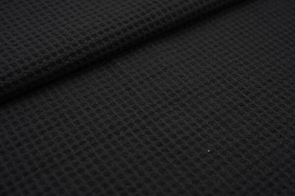 Waffelpiqué Waffelstoff uni schwarz Baumwollstoff mit Waffelmuster