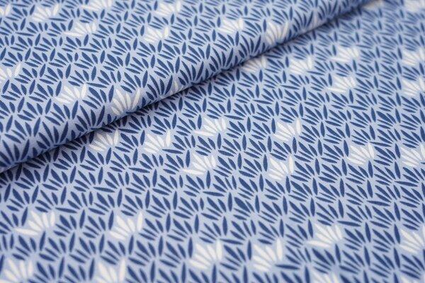 Baumwoll-Jersey Blätter Muster hellblau / jeansblau / weiß