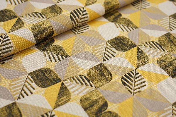 Canvas-Stoff Dekostoff Blätter Muster Vierecke gelb / braun / schwarz / natur