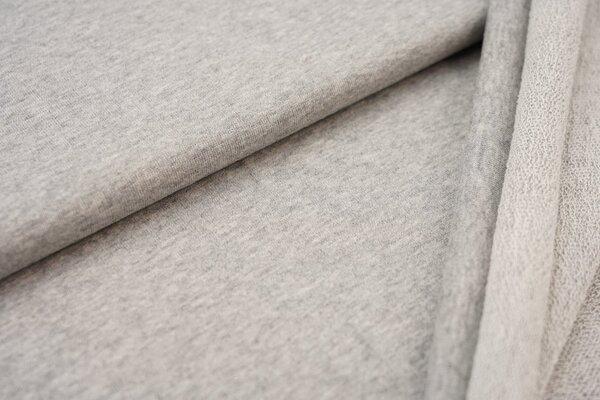 Baumwoll-Sweatstoff uni hellgrau meliert