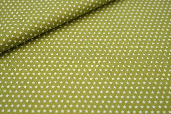 Baumwollstoff Baumwolle olivgrün mit kleinen weißen Sternen