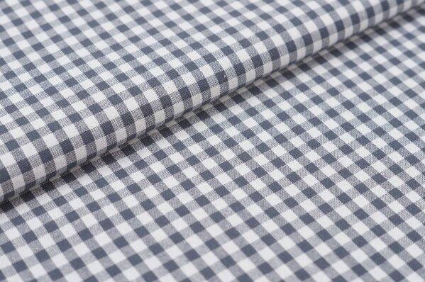 Baumwollstoff Baumwolle Karomuster klein kariert anthrazit grau / weiß