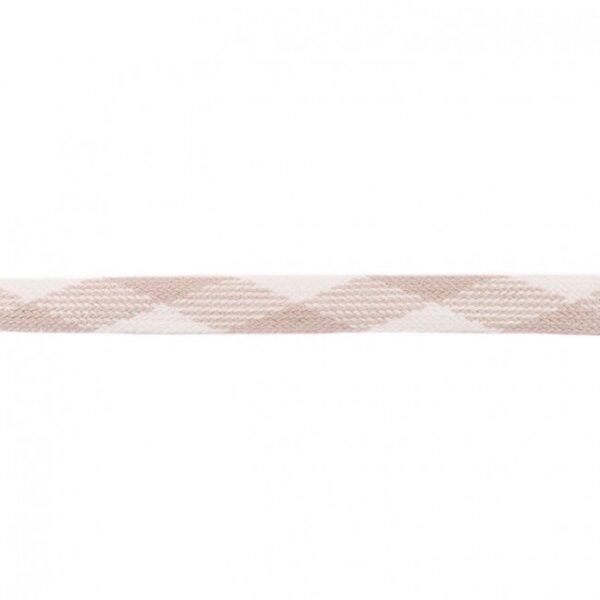 Kordel flach sand beige / weiß 20 mm breit