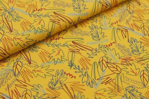 Baumwoll-Jerseystoff Blätter-Muster in hellblau / grau / blau / rot auf senf