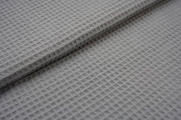 Waffelpiqué Waffelstoff uni grau Baumwollstoff mit Waffelmuster