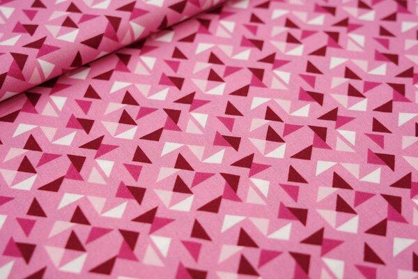 Baumwollstoff Dreiecke auf hell pink