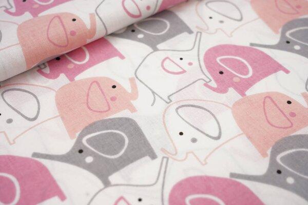 Baumwollstoff Elefanten Parade weiß / rosa / lachs / grau