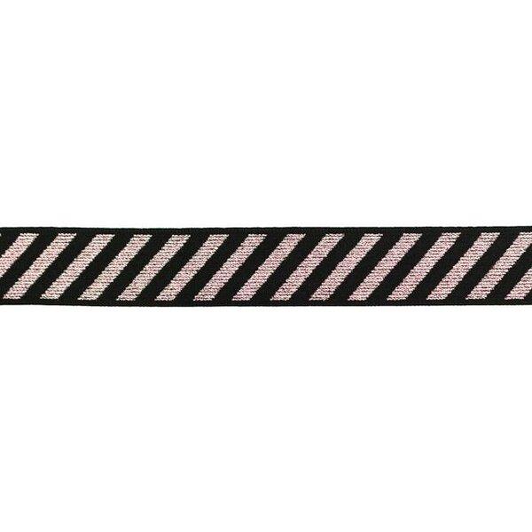 Gummiband mit diagonalen Glitzer Streifen rosa auf schwarz 25 mm