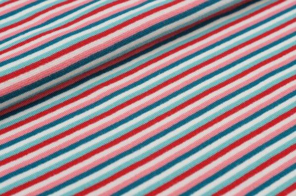 Ringelbündchen bunte Streifen petrol / koralle / off white / rot / eisblau