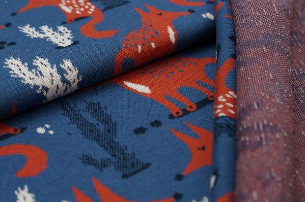 Jacquard-Sweat Ben Fuchs und Kaktus taupe blau rostorange navy blau off white