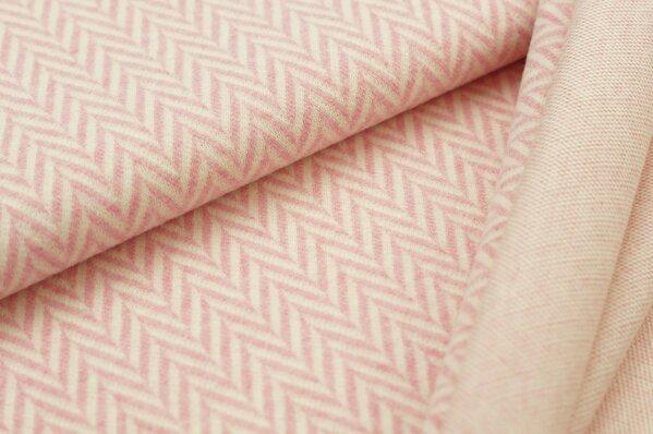 Kuschel Jacquard-Sweat Moritz XXL Fischgrätmuster pastell pink off white Melange