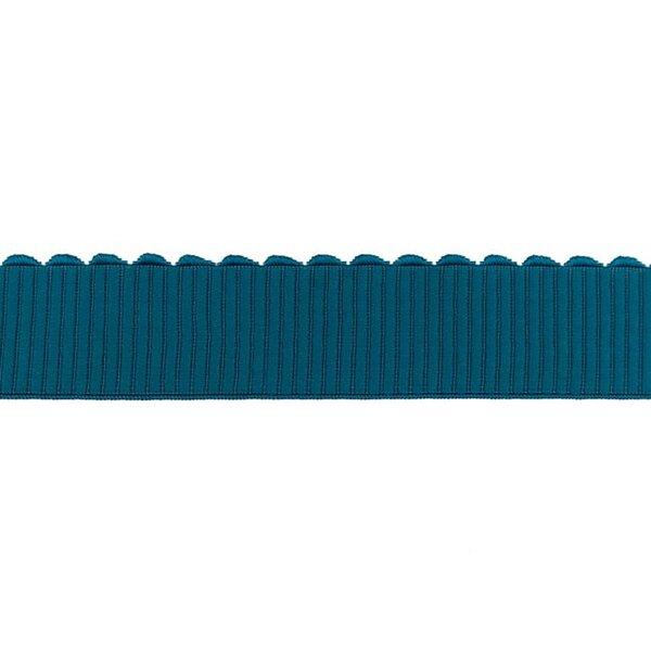 Breites Gummiband uni mit Spitze in Wellen-Form petrol 40 mm