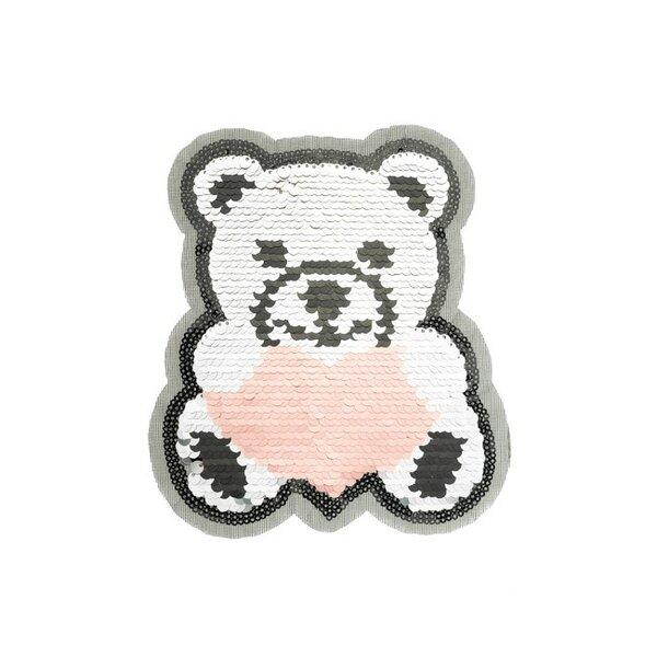 Applikation großer Teddybär mit Herz rosa silber Aufnäher mit Wendepailletten