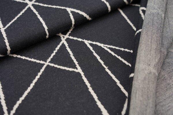 Jacquard-Sweat Ben off white Streifen auf schwarz