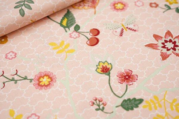 Baumwolle Blumenzweige Wellensittiche Schmetterlinge lachs / rot / senf