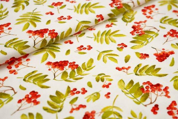 Baumwoll-Jersey Digitaldruck Vogelbeeren / Blätter orange / grün auf off white