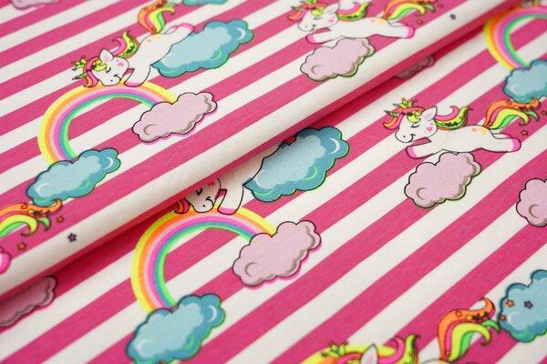 Baumwoll-Jerseystoff Streifen rosa / weiß und neon Einhorn auf Wolken