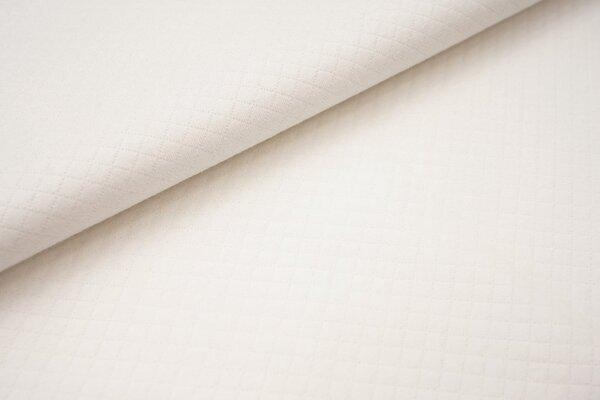 Baumwoll Stepp-Stoff uni mit Rauten Muster Double Face cremeweiss off white
