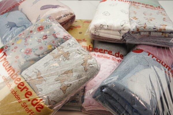 Stoffpaket Alpenfleece Kuschelsweat Minky Nicki Mix 3 m verschiedene Farben / Muster gemischt