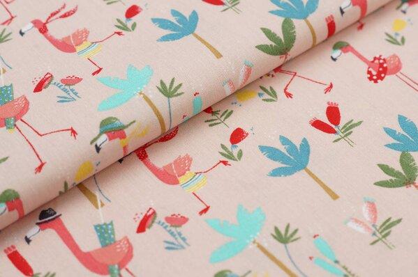 Baumwollstoff witzige Flamingos mit Palmen Blumen auf pastell rosa Baumwolle