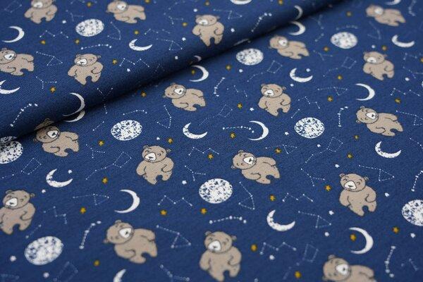 Baumwoll-Jersey Bären im Weltall Mond Planeten Sternbilder auf dunkelblau