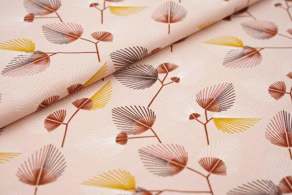 Baumwoll-Jersey Blätter-Muster auf pastell altrosa