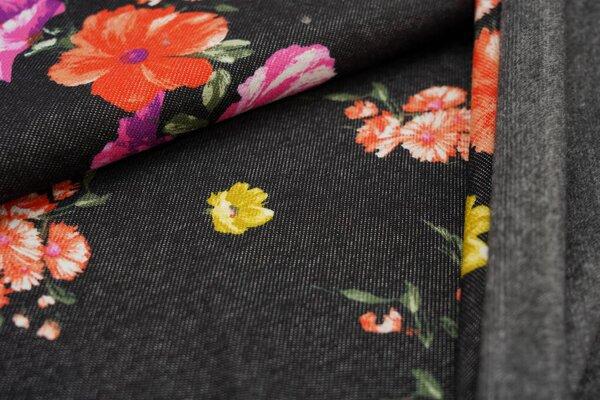Kuscheliger Alpenfleece in Jeans-Optik große Blumen auf schwarz Kuschelsweat