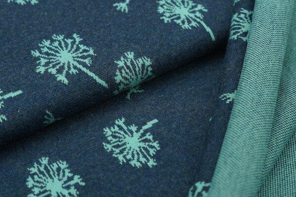 Jacquard-Sweat Mia eisblaues Pusteblumen Muster auf navy blau Melange