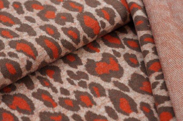Kuschel Jacquard-Sweat Max Leoparden Design lachs / taupe braun / orange