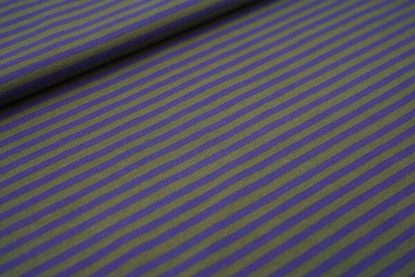 Baumwoll-Jersey mit schmalen Streifen in lila / olivgrün