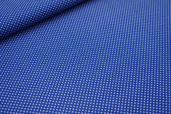 Baumwollstoff kleine weiße Punkte auf kobaldblau