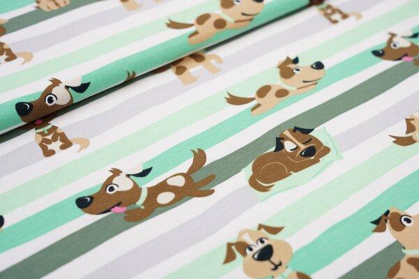 Baumwoll-Jerseystoff Hunde auf Streifen grün / grau / weiß / braun