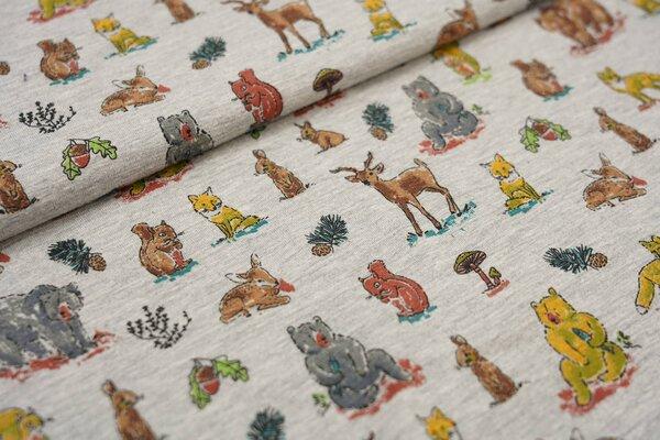 Baumwoll-Jersey Tiere auf grau meliert Bär Fuchs Hase Vogel Eichhörnchen Reh