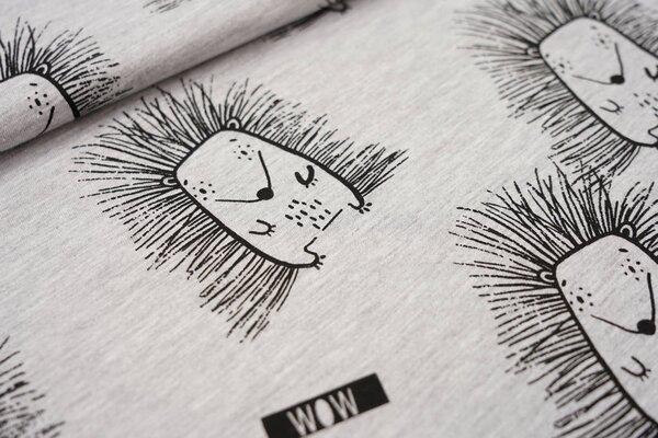 Sommer T-Shirt-Stoff / leichter Jersey große Igel grau meliert / schwarz