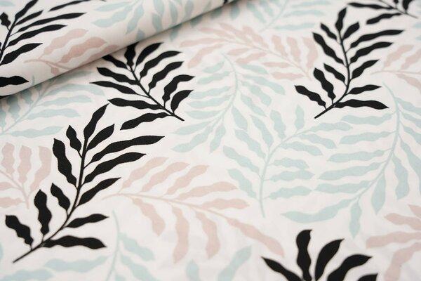 Baumwollstoff große Blätter Zweige weiß / schwarz / pastell mint / pastell rosa