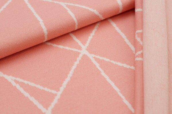Jacquard-Sweat Ben off white Streifen auf lachs