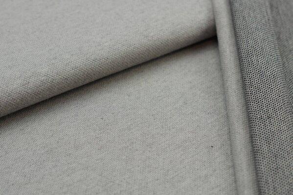 Jacquard-Sweat Ben hellgrau Uni mit hellgrauer und schwarzer Rückseite