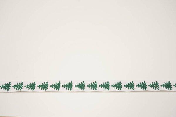 Webband grüne Weihnachtsbäume Tannenbäume Baum auf weiß 15 mm Zierband Dekoband