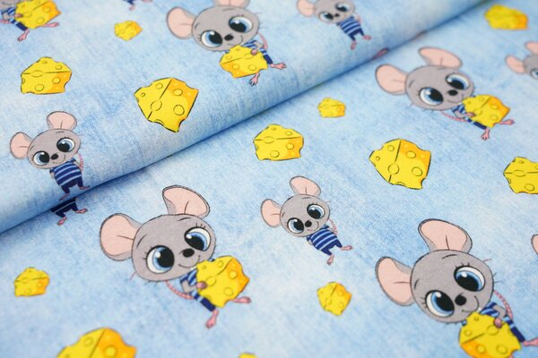 Baumwoll-Jersey in Jeanspotik Mäuse Junge mit Käse hell jeansblau Maus