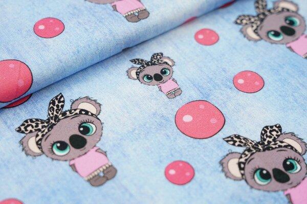 Baumwoll-Jersey in Jeanspotik Koala Mädchen und Kreise hell jeansblau