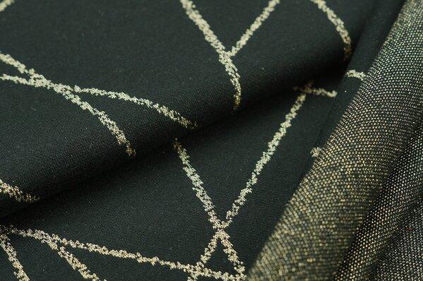 Jacquard-Sweat Ben gold Lurex Glitzer Streifen auf schwarz