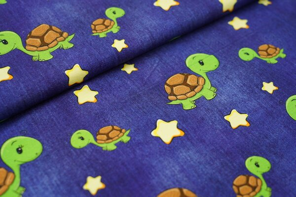 Baumwoll-Jersey in Jeanspotik Schildkröte und Sterne dunkel jeansblau