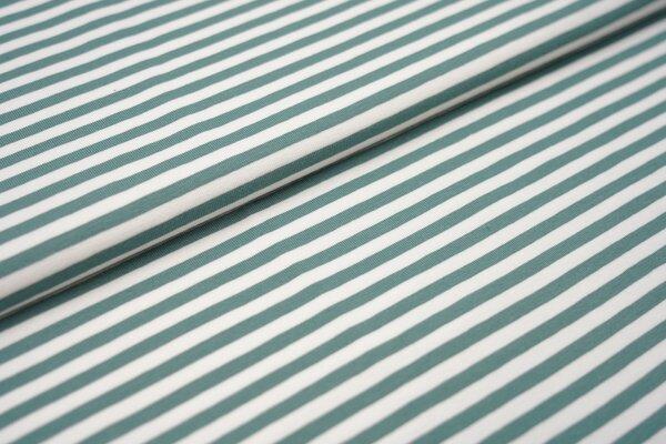 Baumwoll-Jersey Streifen Ringel weiss / altmint
