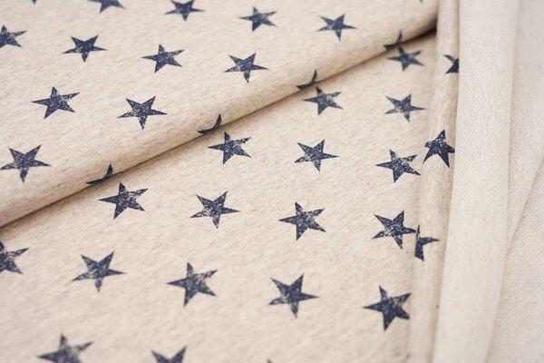 Baumwoll-Sweat navy dunkelblaue Sterne auf beige meliert