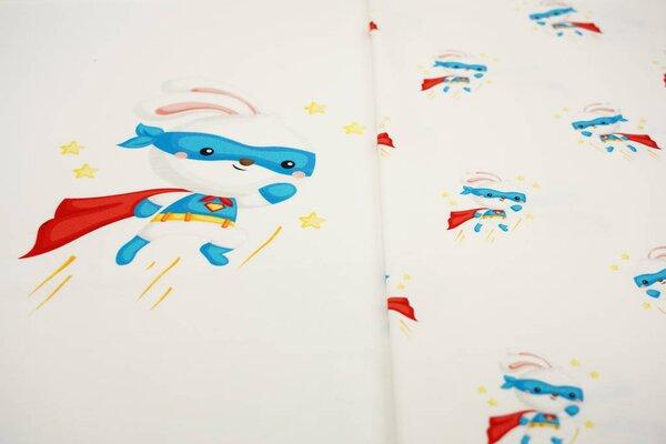 Panel Baumwoll-Jersey Super Bunny und Hasenohren auf off white Digitaldruck