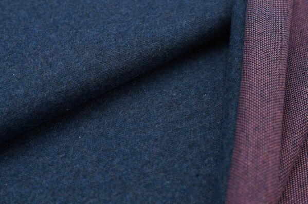 Jacquard-Sweat Mia navy blau Melange Uni mit altrosa und navy blau Rückseite